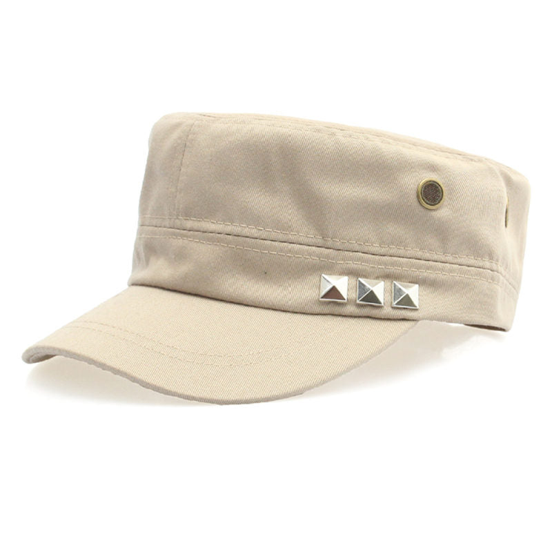 Costbuys  Cotton Military Caps Rivets Ladies Breathable Hat Army Green Black Color Women Sizes No Patterns Hats Styles - Beige_4