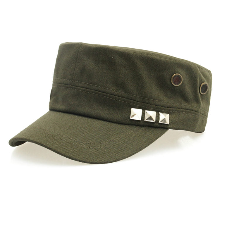 Costbuys  Cotton Military Caps Rivets Ladies Breathable Hat Army Green Black Color Women Sizes No Patterns Hats Styles - Green_1