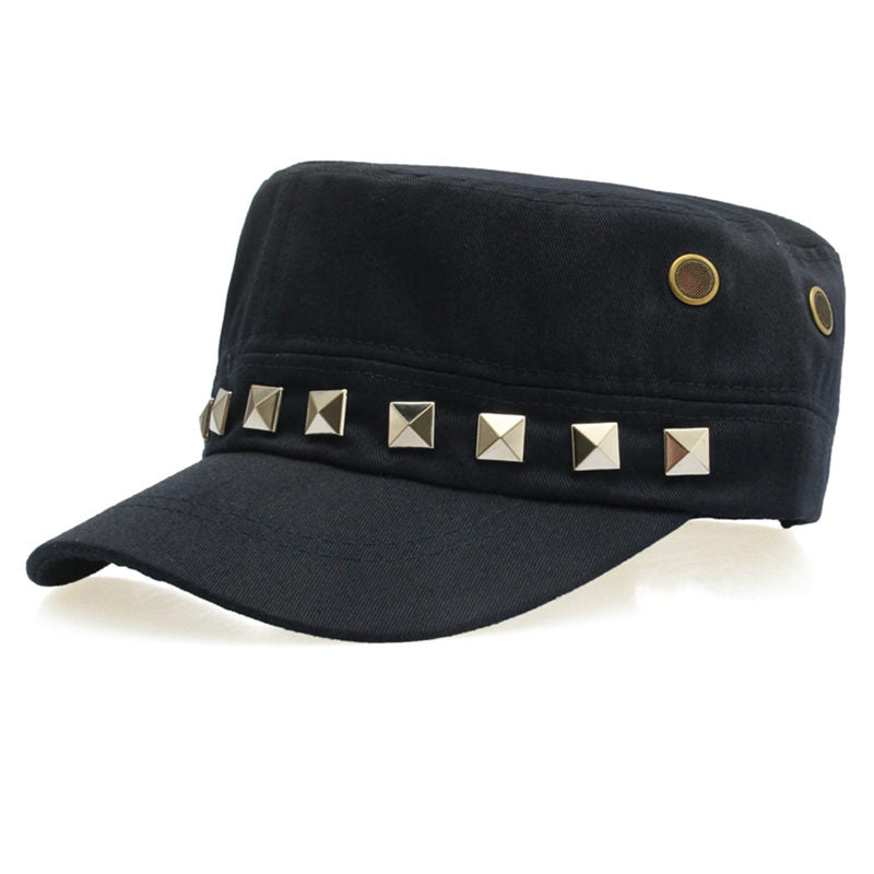 Costbuys  Cotton Military Caps Rivets Ladies Breathable Hat Army Green Black Color Women Sizes No Patterns Hats Styles - Blue_7