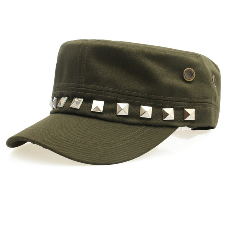 Costbuys  Cotton Military Caps Rivets Ladies Breathable Hat Army Green Black Color Women Sizes No Patterns Hats Styles - Green_5