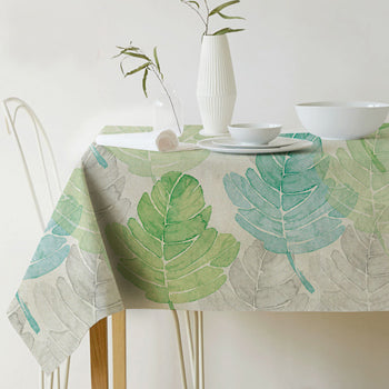 Costbuys  Table cloth Rectangular Pastoral style Tropical Plants Printed Tablecloth Home Protection and decoration Elegant Table