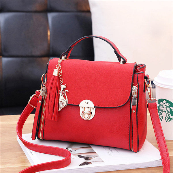 Costbuys  Tassel small square bag female bag summer new Korean version small bag simple leisureportable single shoulder skew sat