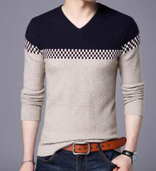 M-4XL Sweater Men  Casual Pullover Men Autumn V Neck Patchwork top Quality Knitted Male Sweater