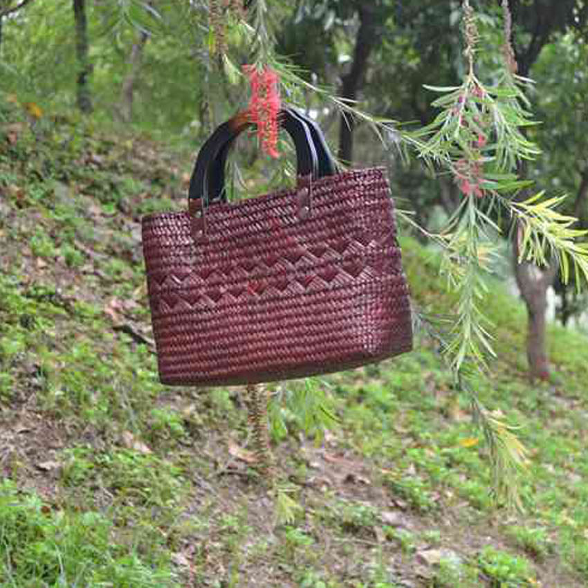 Costbuys  Thai version of grass weaving handbags handicrafts natural environmental weaving women bag style beach bag Top-Handle