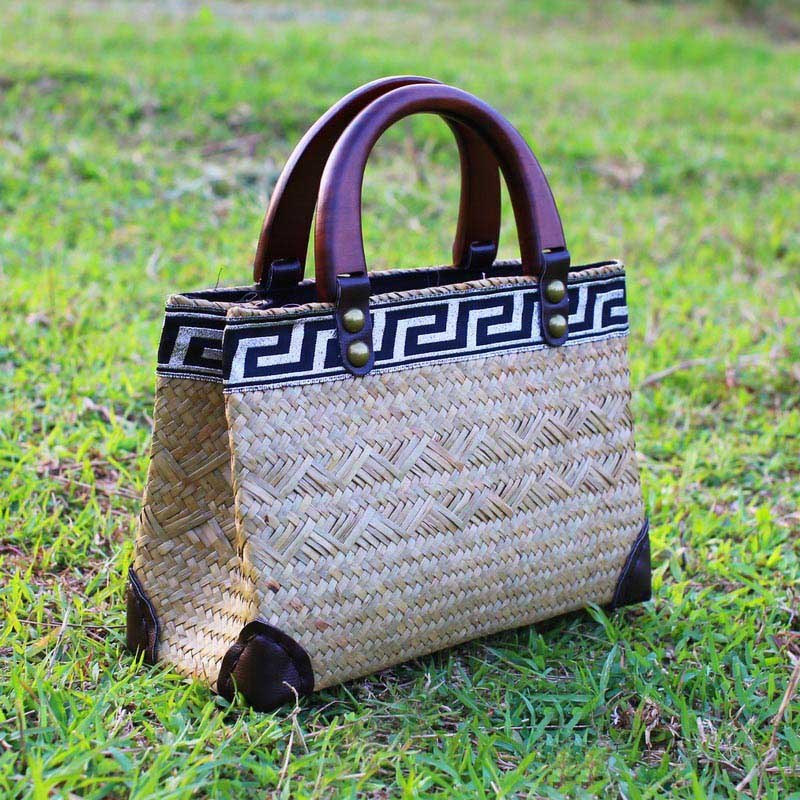 Costbuys  Version of pure hand-woven seaweed bag fashion retro bag handbag holiday package bag handbags beach bag Top-Handle Bag