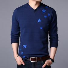 The Young Men Fashion V Neck Cashmere Sweater Pullover Man Fleece Warm Winter Sweaters Male Pentagram Print Pullovers Male