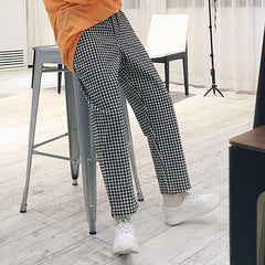The autumn simple plaid casual pants men's easy han edition of the nine-point pants youth trend a wide range of wide-leg pants