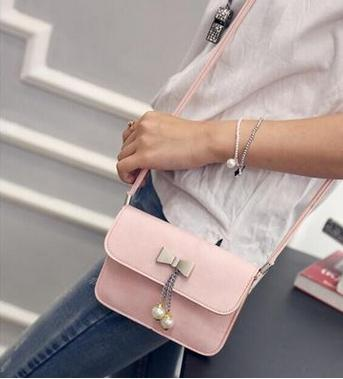 Costbuys  The new PU leather bow hanging drop single shoulder bag Joker fashion female bag creative mobile BaoXiaoFang bag Cross