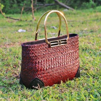 Costbuys  The new version of the European and American wind grass package simple fashion rattan grass sea beach beach package To