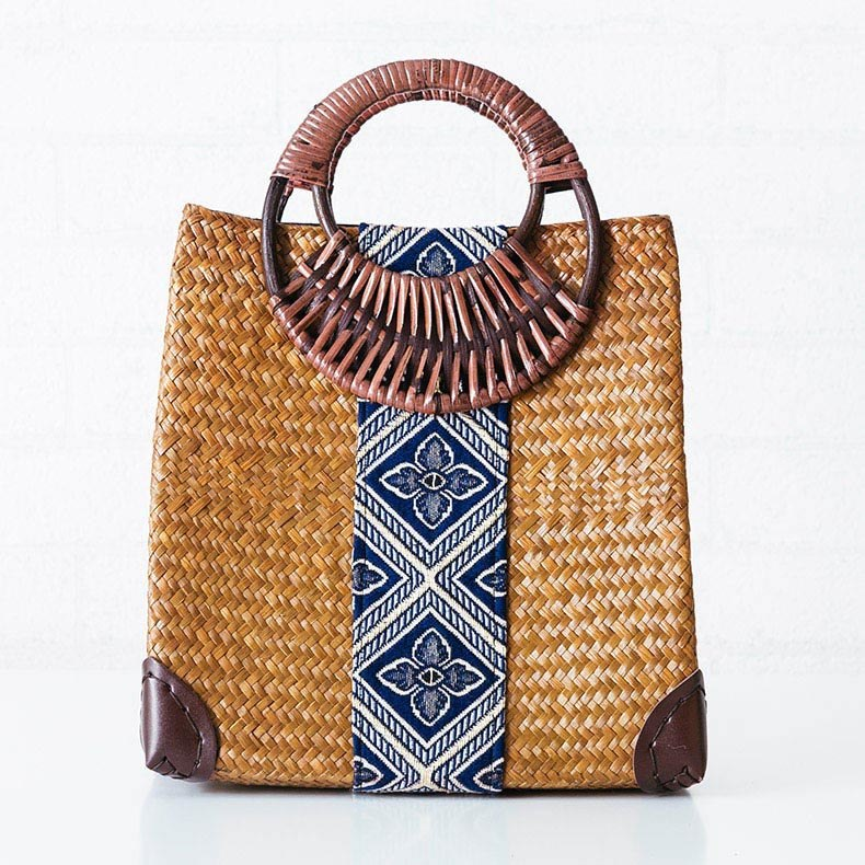 Costbuys  The new Thai version of the handmade straw bread bag woven knitting holiday beach package national style handbags hand