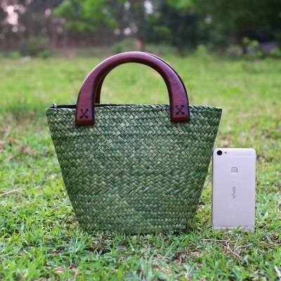Costbuys  The new version of the sea brocade package women's handbag retro fashion rattan grass package straw bag water bag Top-