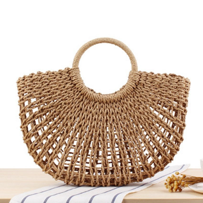 Costbuys  The new forest Department retro simple hand-woven straw bag hand-woven hollow beach bag summer travel vacation beach T