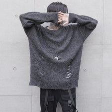 Harajuku Fashion Mens Sweater Hip Hop High Street Streetwears For Male Loose Holes Pullover Mens Cashmere Sweater