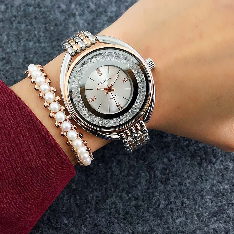 Costbuys  Watch Women Watches Rose Gold Bracelet Watch Rhinestone Ladies Watch montre femme relogio feminino reloj mujer - 1