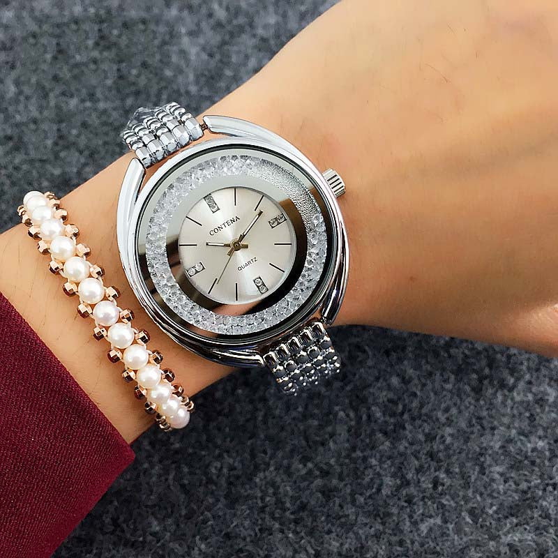 Costbuys  Watch Women Watches Rose Gold Bracelet Watch Rhinestone Ladies Watch montre femme relogio feminino reloj mujer - Silve
