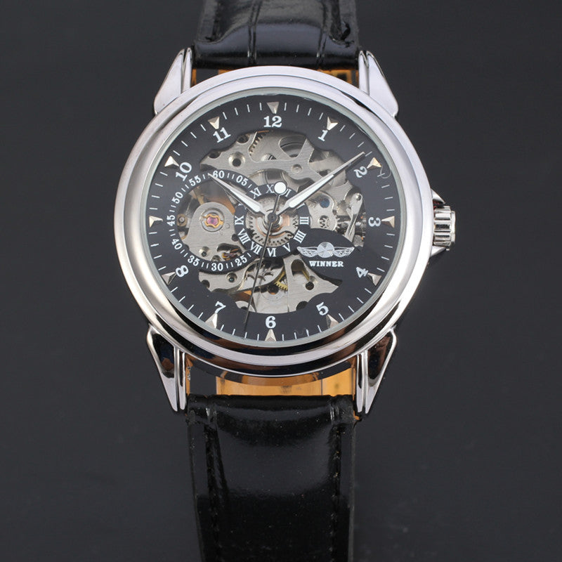 Costbuys  Top Brand Men's Automatic Skeleton Mechanical Watch Luxury Genuine Leather Casual Sports Men WristWatches Self-Wind Cl