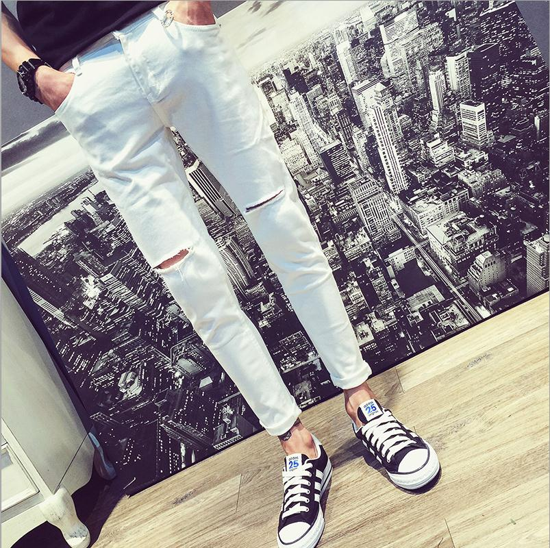 0c329a259fb Top quality Fashion Casual knee hole white jeans men Slim hip hop Deni –  Costbuys