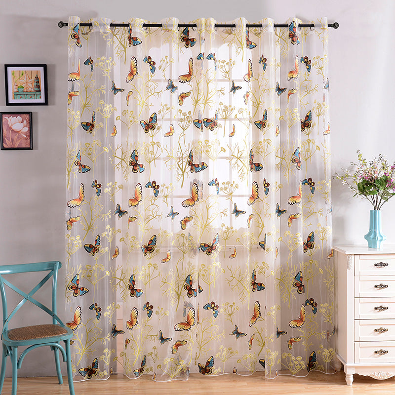 Beautiful Printed Butterfly Sheer Curtains Tulles Window For Living Room Bedroom Kitchen Girls Voile