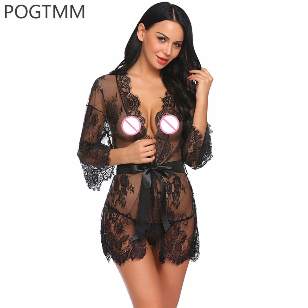 Transparent Robe Dress Set Women Lingerie Sexy Hot Erotic Plus Size Ni Costbuys