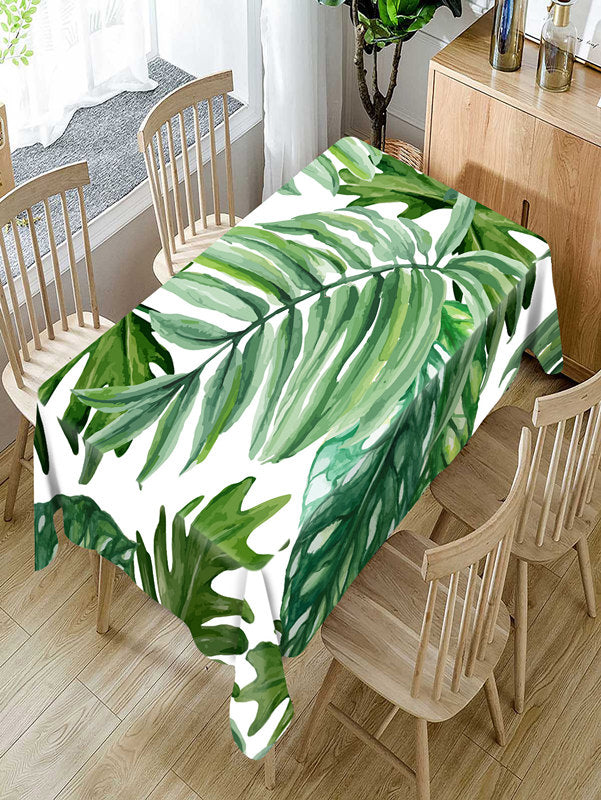 Costbuys  Tropical green plants Pattern Tablecloth Comfortable Waterproof Table Cloth Cover for Home - B / 140 X 140CM