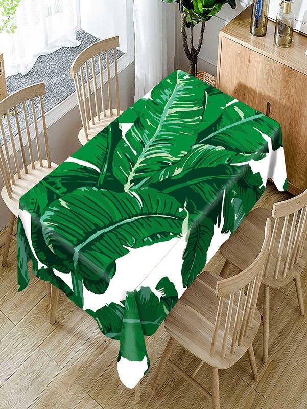 Costbuys  Tropical green plants Pattern Tablecloth Comfortable Waterproof Table Cloth Cover for Home - A / 140 X 140CM