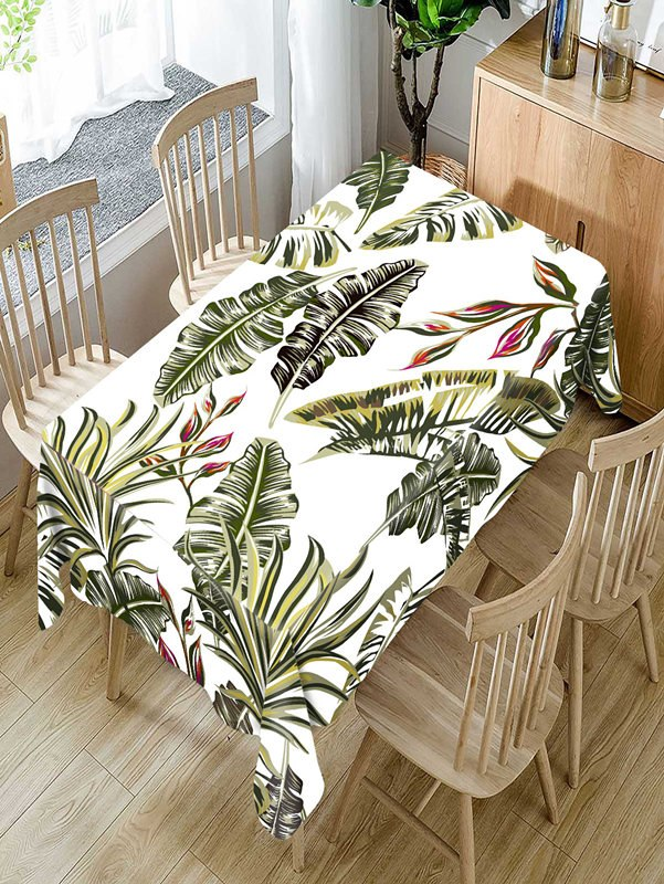 Costbuys  Tropical green plants Pattern Tablecloth Comfortable Waterproof Table Cloth Cover for Home - C / 140 X 140CM