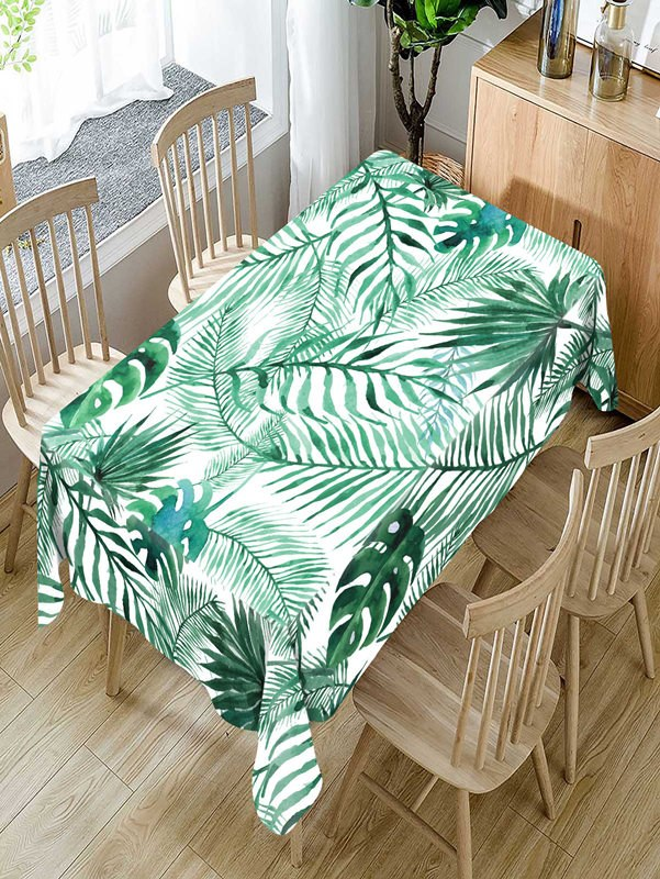 Costbuys  Tropical green plants Pattern Tablecloth Comfortable Waterproof Table Cloth Cover for Home - D / 140 X 140CM