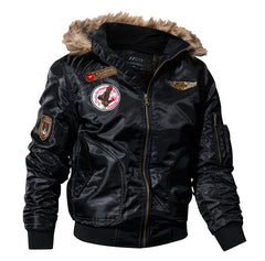 US Air Force Airborne Tactical Bomber Jackets Men Hooded Fur Collar Military Pilot Jacket Winter Warm Army Flight Coats