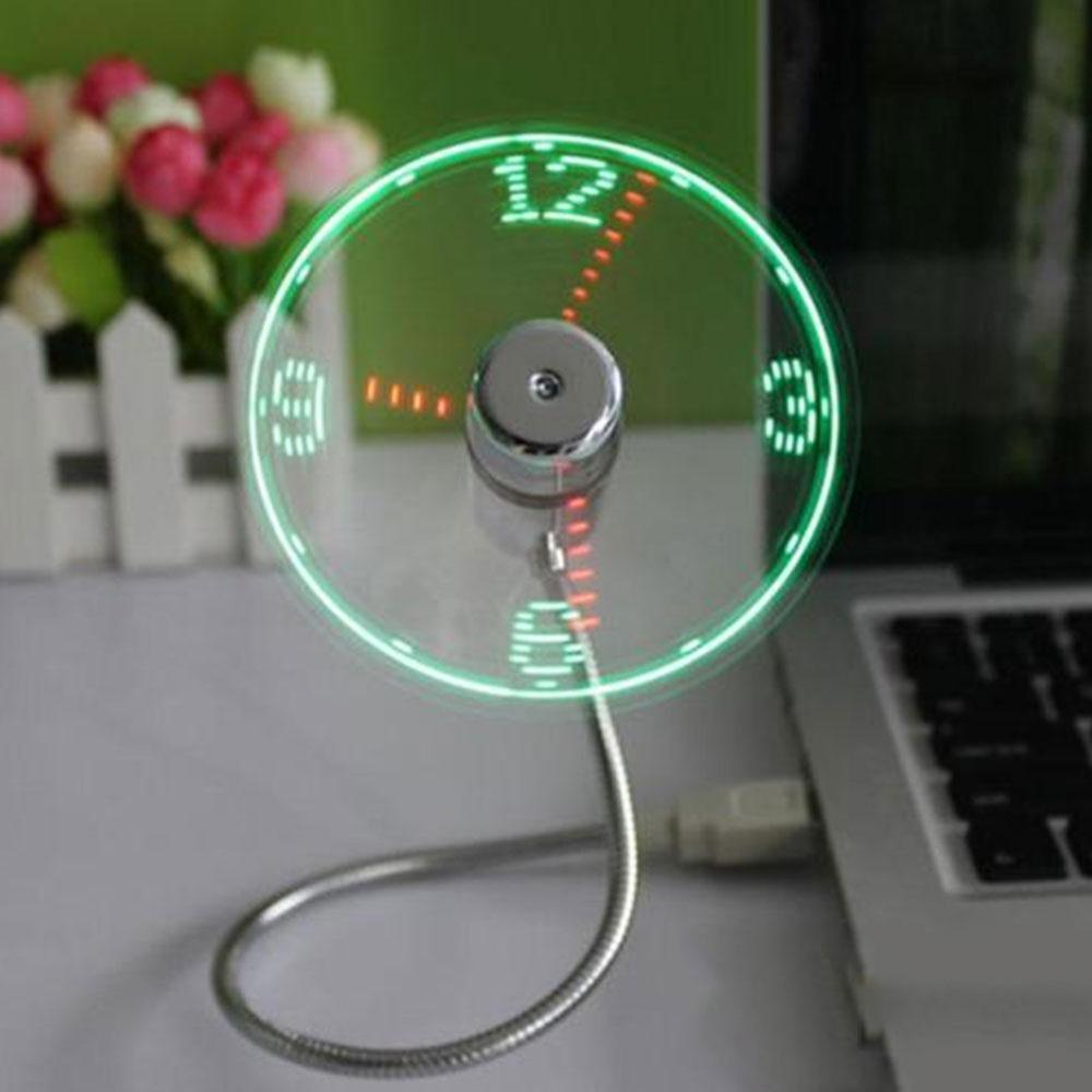 Costbuys  USB LED Clock Gooseneck Cooling Mini Fan Gadget Summer For Home Office PC - color