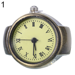 Women's Vintage Creative Round Alloy Quartz Finger Ring Watch