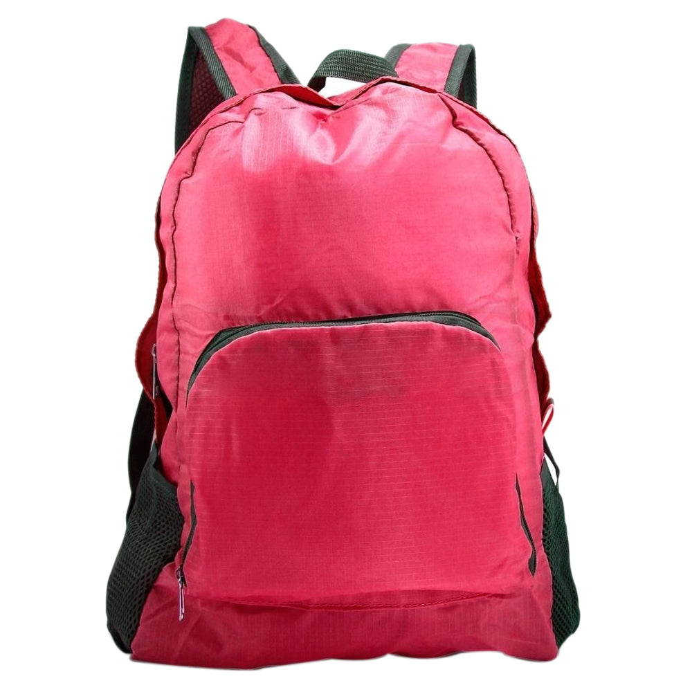 Costbuys  Unisex Outdoor Sports Waterproof Foldable Backpack Hiking Bag Camping Rucksack - Rose red