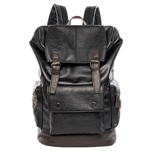 Costbuys  Simple Patchwork Large Capacity Mens Leather Backpack For Travel Casual Men Daypacks Leather Travel Backpack mochila -