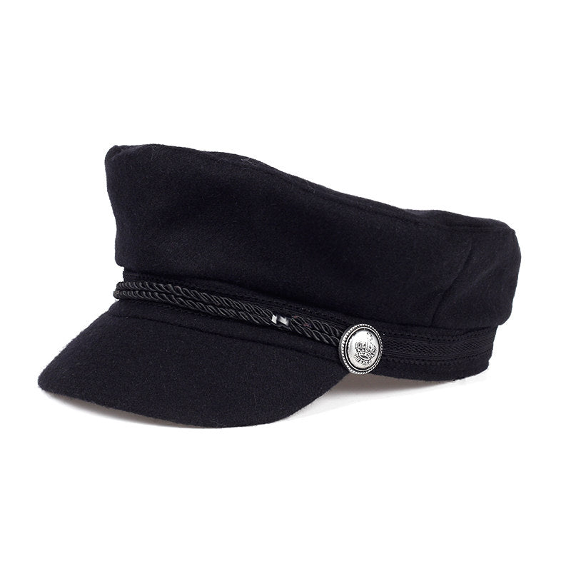 Costbuys  Female hat winter 100% wool berry hat black rope fixed crown silver buckle winter warm hat Berets hat cap - black 13