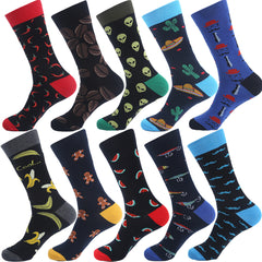 Cotton Men's Socks Funny Hip Pop Fruit Banana Pepper Coffee Beans Alien Long Cool Skate Sock for Men
