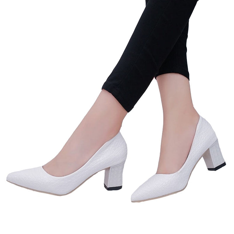 High Heels Square Heel Shoes Woman Pointed Toe Spring Autumn Women's Pumps Sexy Platform Shoes Office Lady Shoes