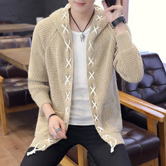 Cardigan Sweaters Men Fashion Winter Full Sleeves Sweater Cotton Solid Tops With Hat Casual Sweater For Men New Arrival