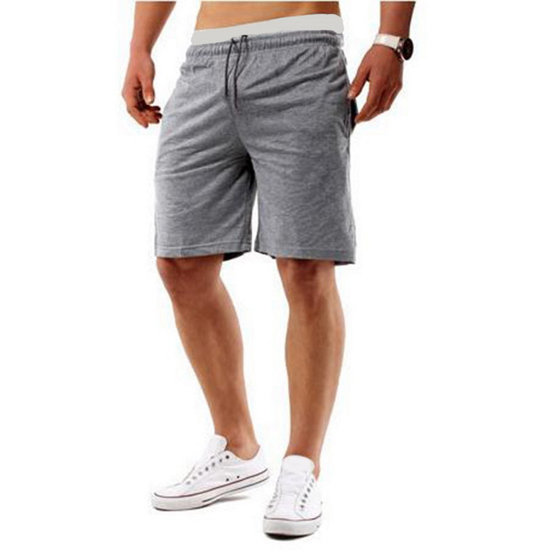 Costbuys  Running Shorts Men Fitness Solid Drawstring Sport Shorts Gym Exercise Loose Fitness Gym Shorts Summer - light grey / X