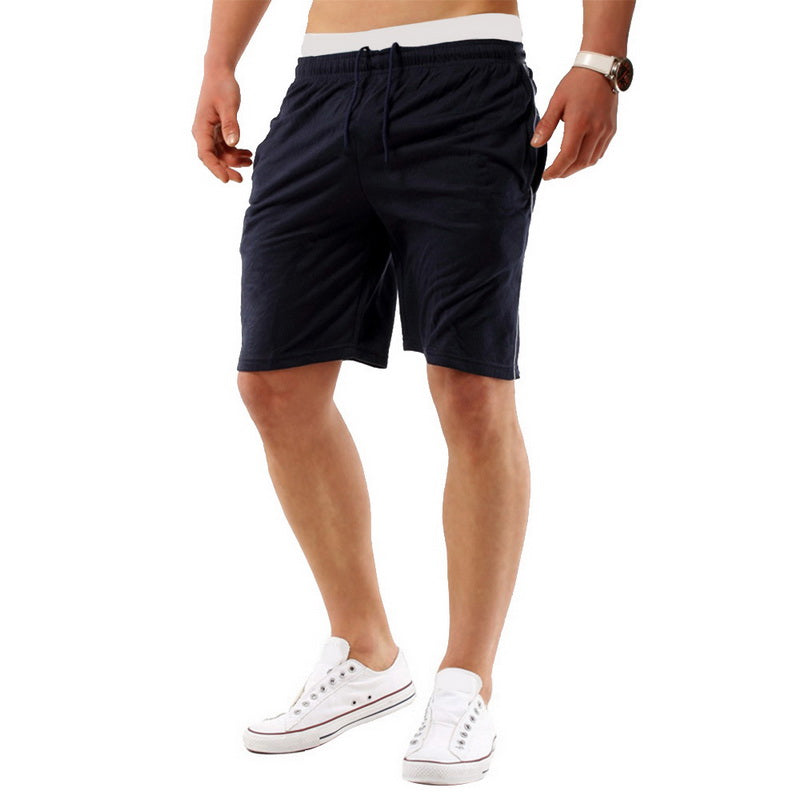 Costbuys  Running Shorts Men Fitness Solid Drawstring Sport Shorts Gym Exercise Loose Fitness Gym Shorts Summer - black / XL