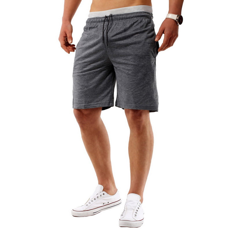 Costbuys  Running Shorts Men Fitness Solid Drawstring Sport Shorts Gym Exercise Loose Fitness Gym Shorts Summer - deep grey / L