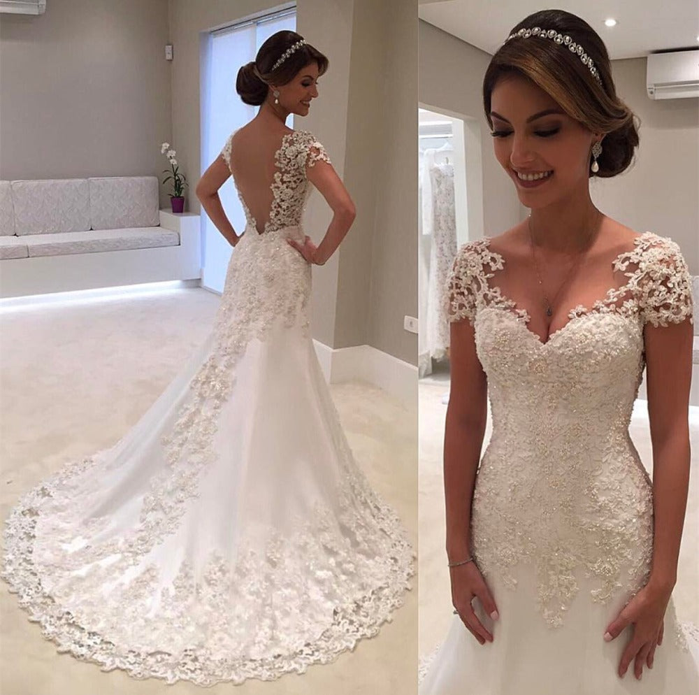White Backless Lace Mermaid Wedding Dresses Short Sleeve Wedding ...