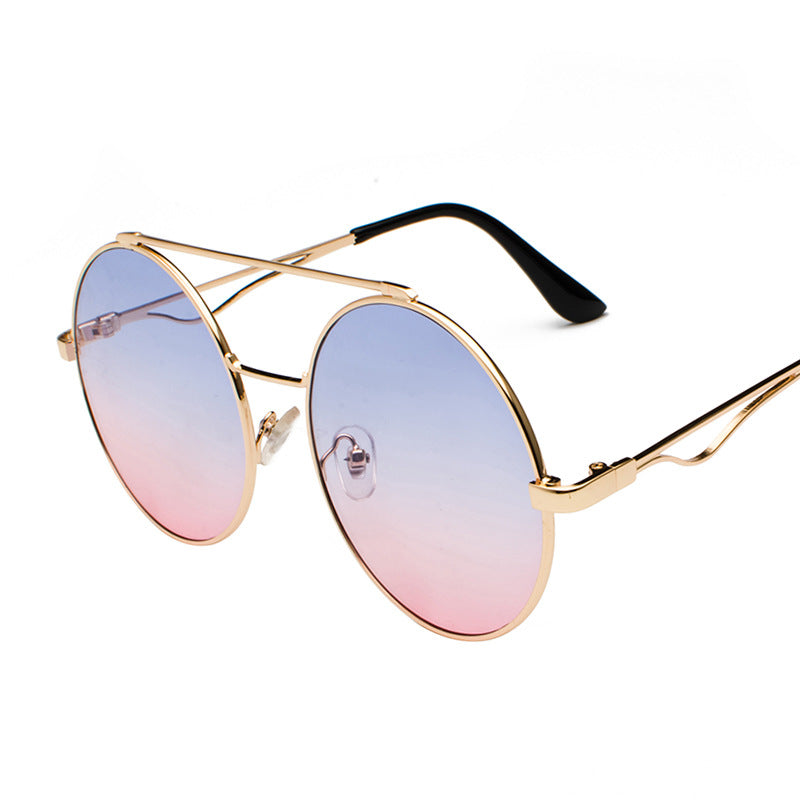 Costbuys  Vintage Double Beam Round Sunglasses Women Luxury Oval blue Red Frame Eyewear Clear Lens Sunglasses Men Shades NX - bl