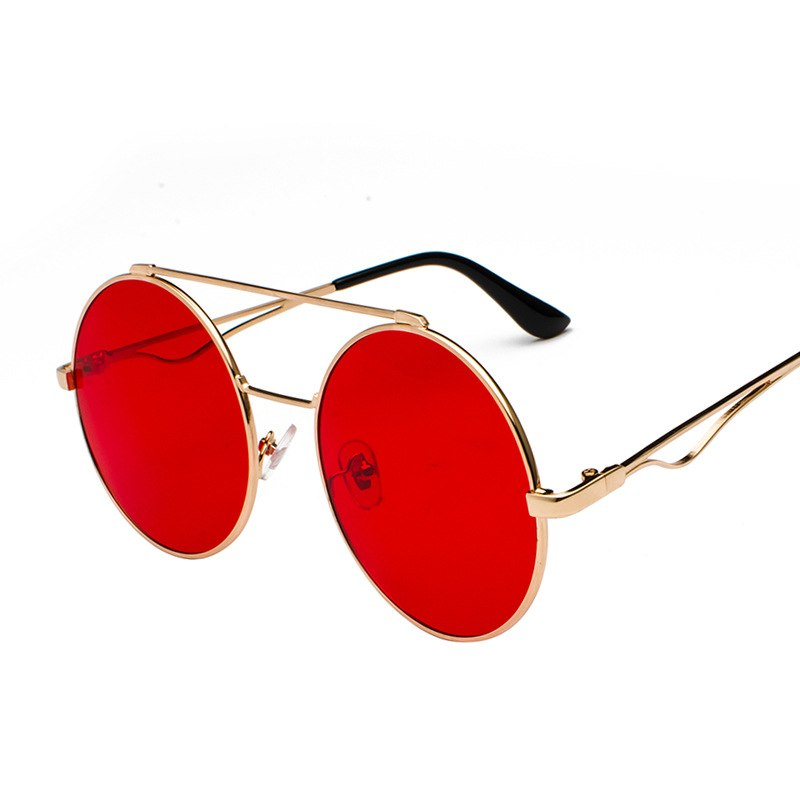 Costbuys  Vintage Double Beam Round Sunglasses Women Luxury Oval blue Red Frame Eyewear Clear Lens Sunglasses Men Shades NX - go
