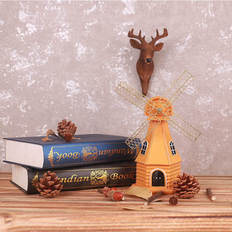 Costbuys  Vintage Dutch Windmill Model Decor Resin Crafts Retro Antique Dutch Windmill Model Ornament Craft Home Decoration Crea