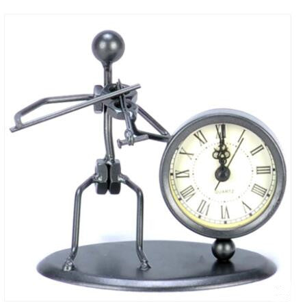Costbuys  Vintage Old Fashion Iron Art Musician Clock Figure Ornament For Home Office Desk Decoration Gift - C61