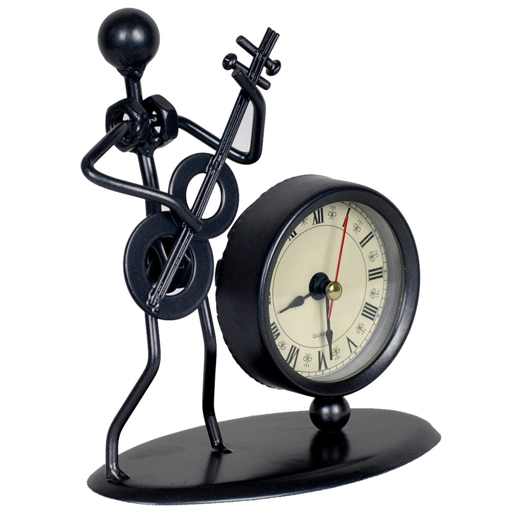 Costbuys  Vintage Old Fashion Iron Art Musician Clock Figure Ornament For Home Office Desk Decoration Gift - C70