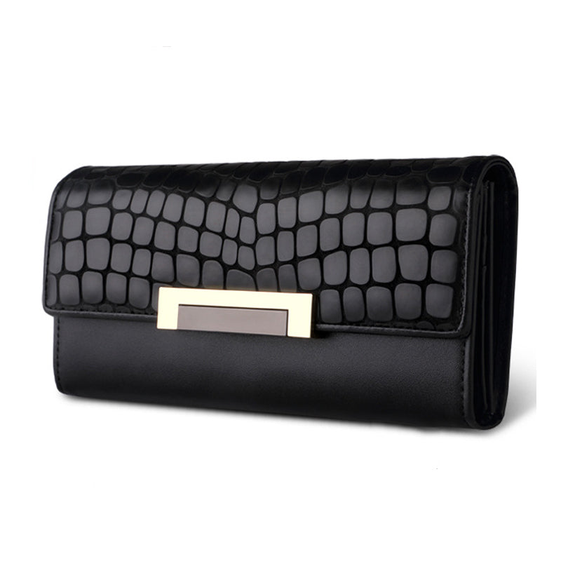 Costbuys  Quality Leather Long Fashion Women Wallets Designer Brand Clutch Purse Lady Party Black Wallet Female Card Holder - Bl