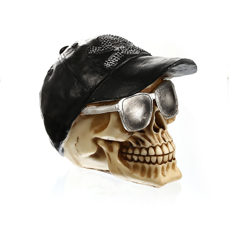 Costbuys  Vintage Resin Hat Skull Figurine Landscape Creative Skull Miniature Home Decoration Accessories Crafts Halloween Birth