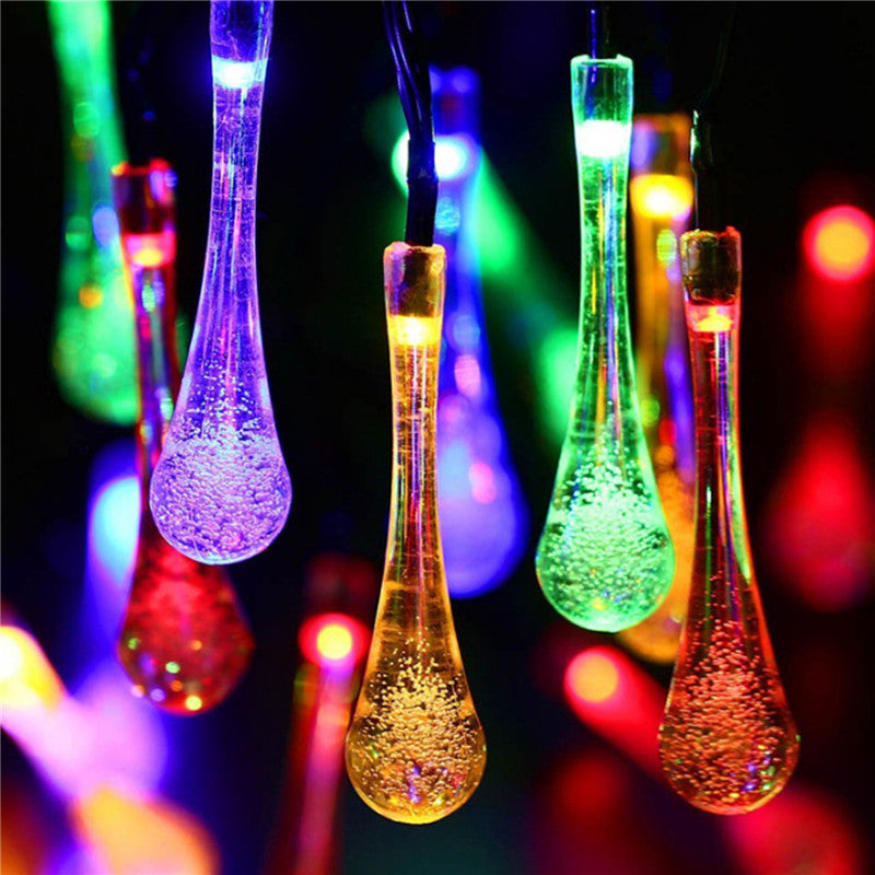 Costbuys  Solar Powered 30LED Water Drop Style String Light Outdoor Gardens Lawn Patio Weddings Festival Parties Decor Lamp - Ch