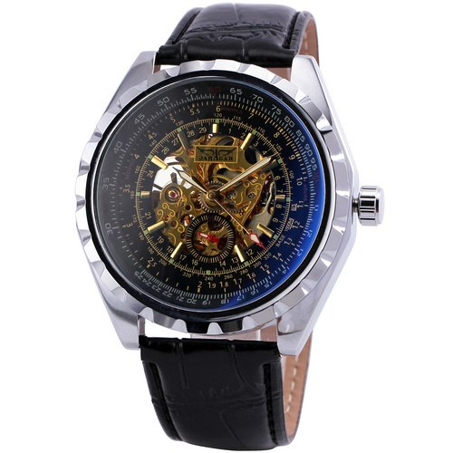 Costbuys  Sports Men Mechanical Wrist Watches Skeleton Luminous Hands Dial Gear Stainless Steel Case Blue-ray Automatic Watches