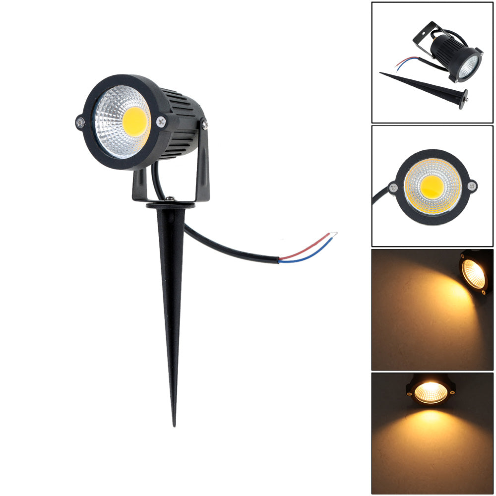 Costbuys  Waterproof Garden Light COB LED Outdoor Lighting Lawn Lamp with Base/Spike Cool/Warm White AC 85-245V 5W - Warm White
